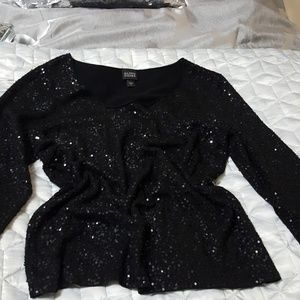 Authentic Eileen Fisher black sequined top
